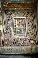 Roman mosaics - Satyros, Antiope & Galatia Mosaic. Poseidon Villa Ancient Zeugama, 2nd - 3rd century AD . Zeugma Mosaic Museum, Gaziantep, Turkey.