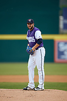 Binghamton Rumble Ponies starting pitcher Donovan Hand (16) gets ready to deliver a pitch during a game against the Akron RubberDucks on May 12, 2017 at NYSEG Stadium in Binghamton, New York.  Akron defeated Binghamton 5-1.  (Mike Janes/Four Seam Images)
