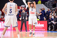 Real Madrid's Rudy Fernandez and Sergio Llull during Turkish Airlines Euroleague match between Real Madrid and CSKA Moscow at Wizink Center in Madrid, Spain. January 06, 2017. (ALTERPHOTOS/BorjaB.Hojas)