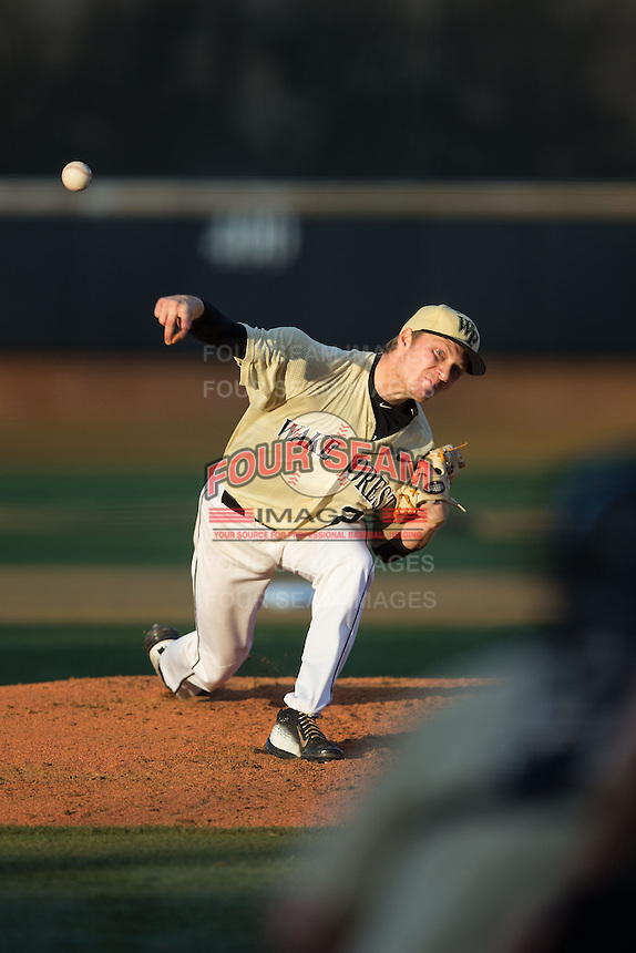Wake Forest Demon Deacons starting pitcher Andrew Loepprich (23) in action against the UConn Huskies at Wake Forest Baseball Park on March 17, 2015 in Winston-Salem, North Carolina.  The Demon Deacons defeated the Huskies 6-2.  (Brian Westerholt/Four Seam Images)