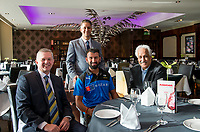 Picture By Allan McKenzie/SWpix.com - 05/04/18 - Cricket - Cheteshwar Pujara Press Conference - Aagrah Leeds, Leeds, England - Cheteshwar Pujara with Mark Arthur, Naeem Aslam (Director of Aagrah Leeds) & Mohhamae Aslam MBE DL, (Direcotr of Aagrah Group).