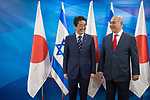 Israeli Prime Minister Benjamin Netanyahu and Japanese Prime Minister Shinzo Abe seen during joint statements at the prime minister's office in Jerusalem, on May 2, 2018. Photo by - Yonatan Sindel-JINIPIX