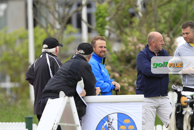 Shane Lowry (IRL) chatting with some of the GUI officials waiting for his brother Alan to tee off on the 1st during Round 3 of the East of Ireland in the Co. Louth Golf Club at Baltray on Monday 2nd June 2014.<br /> Picture:  Thos Caffrey / www.golffile.ie
