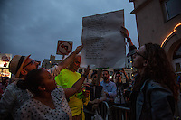 NEW YORK JUNE 13: A group of people reading the names of the victims killed at Pulse nightclub in Orlando. New York June 13, 2016<br /> Thousands honor Orlando shooting victims during a vigil at Stonewall Inn in New York. <br /> Photo by VIEWpress/Maite H. Mateo.