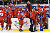 Dmitry Orlov (Russia - 28), Sergey Chvanov (Russia - 9), Vladimir Plyushchev (Russia - Head Coach), Maxim Kitsyn (Russia - 23), ?, ?, Andrey Sergeev (Russia - 11), Pavel Zotov (Russia - 16), Sergey Petrenko (Russia - Coach), Igor Ostapchuk (Russia - Equipment Manager), Maxim Ivontiev (Russia - Trainer), Alexandr Burmistrov (Russia - 8), Nikita Zaycev (Russia - 22), Nikita Pivtsakin (Russia - 3) - Russia defeated Finland 4-0 at the Urban Plains Center in Fargo, North Dakota, on Friday, April 17, 2009, in their semi-final match during the 2009 World Under 18 Championship.