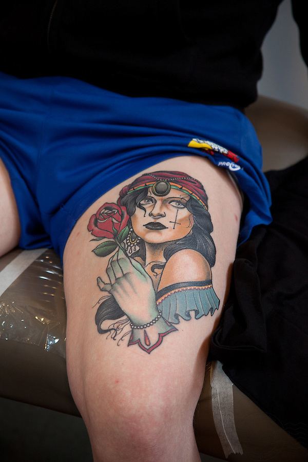 Copenhagen Inkfestival 2012. Portrait tattoo of a gypsy woman