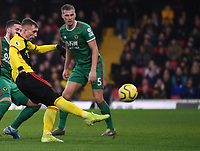 1st January 2020; Vicarage Road, Watford, Hertfordshire, England; English Premier League Football, Watford versus Wolverhampton Wanderers; Gerard Deulofeu of Watford shoots at goal but narrowley over the bar - Strictly Editorial Use Only. No use with unauthorized audio, video, data, fixture lists, club/league logos or 'live' services. Online in-match use limited to 120 images, no video emulation. No use in betting, games or single club/league/player publications