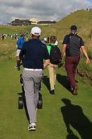 Ronan Mullarney (Galway) on the 18th during the Final of the AIG Irish Amateur Close Championship 2019 in Ballybunion Golf Club, Ballybunion, Co. Kerry on Wednesday 7th August 2019.<br /> <br /> Picture:  Thos Caffrey / www.golffile.ie<br /> <br /> All photos usage must carry mandatory copyright credit (© Golffile | Thos Caffrey)