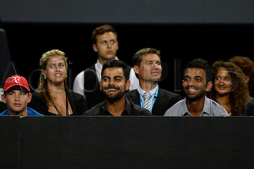 12.01.15 Sydney, Australia. Indian cricket captain Virat Kohli enjoying the action during the FAST4 tennis exhibition match at the Qantas Credit Union Arena.