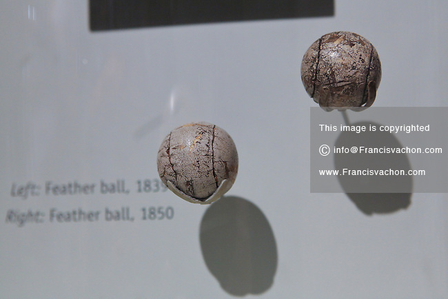 A 1839 and 1850 feather golf ball are seen at the World Golf Hall of Fame in St. Augustine, Florida Friday April 26, 2013. Located in The World Golf Village, the World Golf Hall of Fame features exhibits on the game's history, heritage, and techniques and a Hall of Fame.