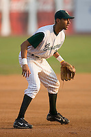 Third baseman Joaquin Rodriguez (22) of the Savannah Sand Gnats on defense at Grayson Stadium in Savannah, GA, Wednesday August 6, 2008  (Photo by Brian Westerholt / Four Seam Images)