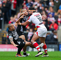 Picture by Alex Whitehead/SWpix.com - 30/09/2017 - Rugby League - Betfred Super League Million Pound Game - Leigh Centurions v Catalans Dragons - Leigh Sports Village, Leigh , England - Leigh's Antoni Maria is tackled by Catalans' Sam Moa and Paul Aiton.