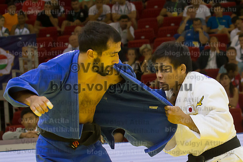 Ryuju Nagayama (in white) of Japan and Albert Oguzov (in blue) of Russia fight during the Men -60 kg category at the Judo Grand Prix Budapest 2018 international judo tournament held in Budapest, Hungary on Aug. 10, 2018. ATTILA VOLGYI