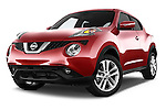 Stock pictures of low aggressive front three quarter view of a 2015 Nissan Juke Acenta 5 Door Suv Low Aggressive