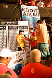 USA, Hawaii, Greg Long being interviewed at surfing competition at Waimea bay