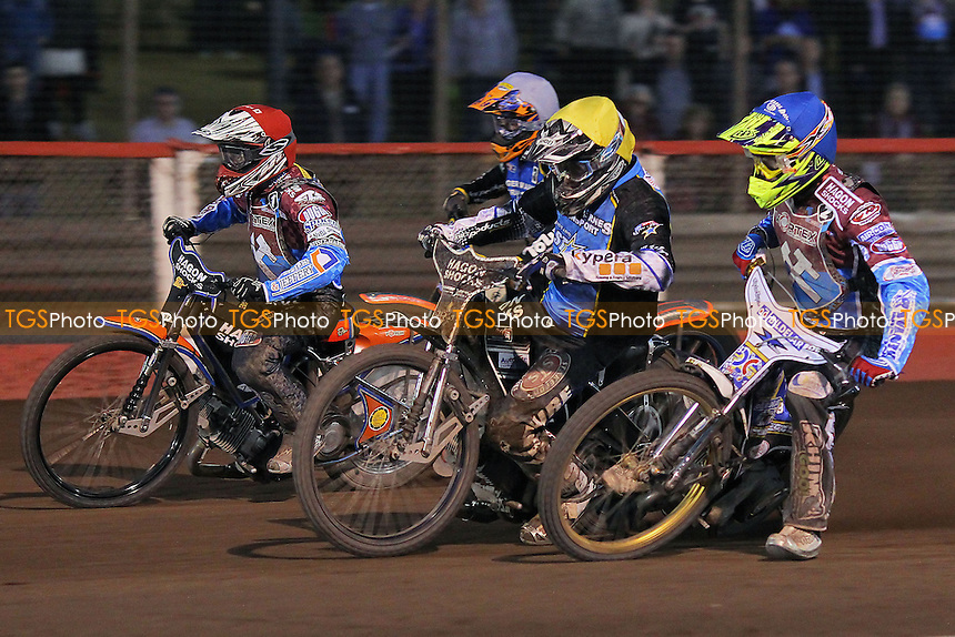 Heat 10: Peter Karlsson (red), Kim Nilsson (blue), Mads Korneliussen (white) and Richie Worrall - Vortex Lakeside Hammers vs Kings Lynn Stars - Sky Sports Elite League Speedway at Arena Essex Raceway, Purfleet - 23/04/13 - MANDATORY CREDIT: Gavin Ellis/TGSPHOTO - Self billing applies where appropriate - 0845 094 6026 - contact@tgsphoto.co.uk - NO UNPAID USE.