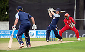 ICC World T20 Qualifier (Warm up match) - Canada V Western District Cricket Union select at Grange CC, Edinburgh - West District bat Bradley Williams hits out on his way to making 54 not out — credit @ICC/Donald MacLeod - 06.7.15 - 07702 319 738 -clanmacleod@btinternet.com - www.donald-macleod.com