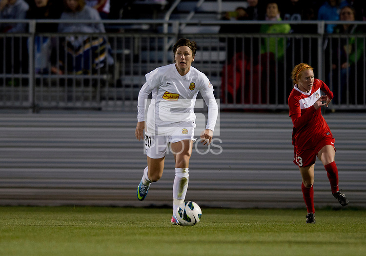 Abby Wambach (20) of the New York Flash brings the ball forward while playing against the Washington Spirit at the Maryland SoccerPlex in Boyds, MD.