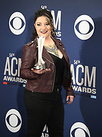 LAS VEGAS, NEVADA - APRIL 07: New Female Artist of the Year award winner Ashley McBryde poses in the press room during the 54th Academy Of Country Music Awards at MGM Grand Hotel &amp; Casino on April 07, 2019 in Las Vegas, Nevada. <br /> CAP/MPIIS<br /> &copy;MPIIS/Capital Pictures