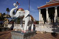 Battambang - Cambodia - June 2020<br /> - WAT DOMREI SOR Pagoda in early morning