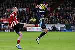 Oliver McBurnie of Sheffield United shoots during the Premier League match at Bramall Lane, Sheffield. Picture date: 10th January 2020. Picture credit should read: James Wilson/Sportimage