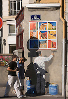Europe/France/Rhône-Alpes/69/Rhône/Lyon:Quais de Saone Quai St Vincent- animation et décoration urbaine mur peint