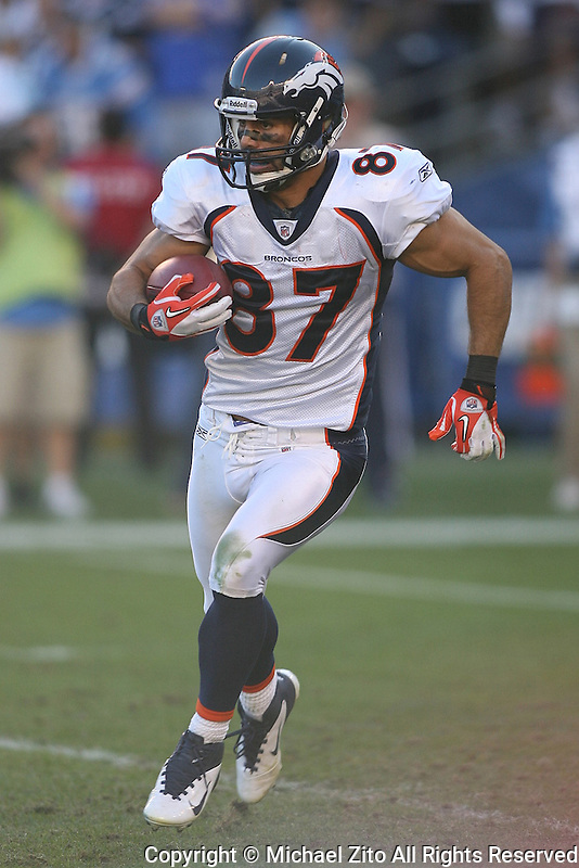 11/27/11 San Diego, CA: Denver Broncos wide receiver Eric Decker #87 during an NFL game played between the Denver Broncos and the San Diego Chargers at Qualcomm Stadium. The Broncos defeated the Chargers 16-13 in OT