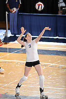 20 November 2008:  New Orleans middle blocker Heather Ford (9) serves during the New Orleans 3-1 victory over UALR in the first round of the Sun Belt Conference Championship tournament at FIU Stadium in Miami, Florida.
