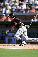 Miami Marlins outfielder Ryan Aper (5) during a Spring Training game against the Detroit Tigers on March 25, 2015 at Joker Marchant Stadium in Lakeland, Florida.  Detroit defeated Miami 8-4.  (Mike Janes/Four Seam Images)