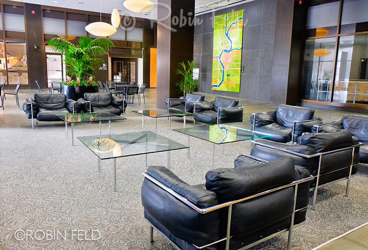 Lobby of Kettering Tower, Dayton Ohio. Interior photo.