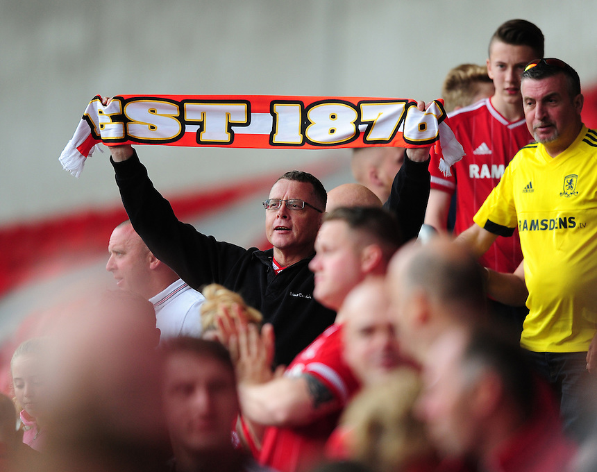 Middlesbrough fans at the final whistle<br /> <br /> Photographer Chris Vaughan/CameraSport<br /> <br /> Football - Pre-Season Friendly - Doncaster Rovers v Middlesbrough - Saturday 25th July 2015 - Keepmoat Stadium, Doncaster<br /> <br /> &copy; CameraSport - 43 Linden Ave. Countesthorpe. Leicester. England. LE8 5PG - Tel: +44 (0) 116 277 4147 - admin@camerasport.com - www.camerasport.com