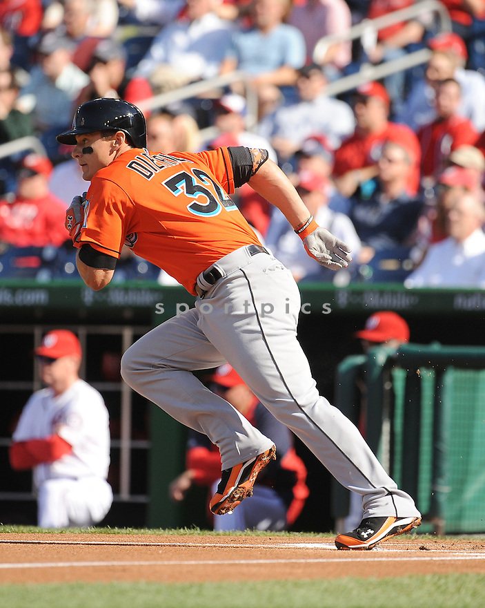 Miami Marlins Derek Dietrich (32) during a game against the Washington Nationals on April 10, 2014 at Nationals Park in Washington DC. The Nationals beat the Marlins 7-1.