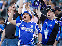 18 April 2009: Earthquakes fans celebrate in the stands before the game between Earthquakes and Galaxy at Oakland-Alameda County Coliseum in Oakland, California.   Earthquakes and Galaxy are tied 1-1.