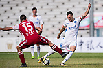 Marko Perovic of R&F F.C (R) attempts a kick while being defended by Marc Martinez of Kwoon Chung Southern (L) during the week three Premier League match between Kwoon Chung Southern and R&F at Aberdeen Sports Ground on September 16, 2017 in Hong Kong, China. Photo by Marcio Rodrigo Machado / Power Sport Images