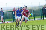 Shane Conway Lixnaw closing in on goal chased by Billy Lyons Causeway during the County U21 Hurling championship SF played in Lixnaw on Sunday