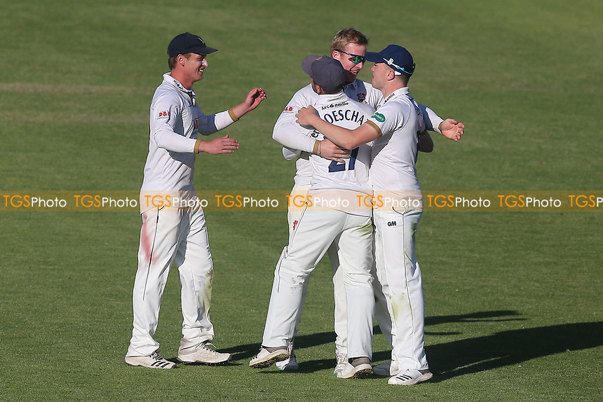 Simon Harmer of Essex celebrates taking the match-winning wicket of Travis Head during Worcestershire CCC vs Essex CCC, Specsavers County Championship Division 1 Cricket at New Road on 13th May 2018