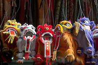 New York, NY - 26 January 2009 Toy Chinese Lions, symbolic of the Chinese New Year, on sale at a Mott Street souvenir shop during the Lunar New Year