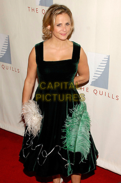 AMY SEDARIS.The third annual Quill Awards held at Fredrick P. Rose Hall, New York, New York, USA, 22 October 2007..half length green velvet feather dress white cream bag.CAP/ADM/BL.©Bill Lyons/AdMedia/Capital Pictures. *** Local Caption ***