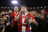 SAN FRANCISCO, CA - JULY 12:  Former San Francisco 49ers owner Eddie DeBartolo, Jr. speaks to the crowd at midfield after the Legends of Candlestick flag football game at Candlestick Park in San Francisco, California on July 12, 2014. Photo by Brad Mangin