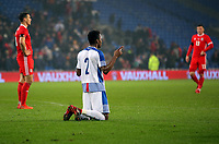 Michael Amir Murillo of Panama kneels down to pray after the end of the game during the international friendly soccer match between Wales and Panama at Cardiff City Stadium, Cardiff, Wales, UK. Tuesday 14 November 2017.