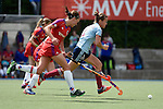 Mannheim, Germany, April 26: During the 1. Bundesliga Damen match between Mannheimer HC (red) and Uhlenhorster HC (light blue) on April 26, 2015 at Mannheimer HC in Mannheim, Germany. Final score 1-2 (0-2). (Photo by Dirk Markgraf / www.265-images.com) *** Local caption *** Jana Teschke #4 of Uhlenhorster HC, Nikki Kidd #26 of Mannheimer HC