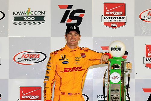 17-18 July, 2015, Newton, Iowa USA<br /> Ryan Hunter-Reay in victory lane with the winner's trophy<br /> ©2015, Phillip Abbott<br /> LAT Photo USA