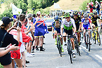 The breakaway group including in action during Stage 10 of the 2018 Tour de France running 158.5km from Annecy to Le Grand-Bornand, France. 17th July 2018. <br /> Picture: ASO/Alex Broadway | Cyclefile<br /> All photos usage must carry mandatory copyright credit (&copy; Cyclefile | ASO/Alex Broadway)
