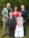 Amy O'Rourke McDonnell from St. Joseph's School who received her first holy communion in St. Joseph's church Mell with parents Sean and Caroline, and brothers Aklan and Cian. Photo:Colin Bell/pressphotos.ie