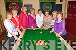 Pool Shark:Catherine Nolan, Fenit celebrating her birthday with her friends at Parker's Bar in Kilflynn on Saturday last. L-R : Finola McSweeney, Eileen King, Patricia O'Mahony, Peggy King, Catherine Nolan, Joan Kenny, Shelia King and Tess Fitzgerald