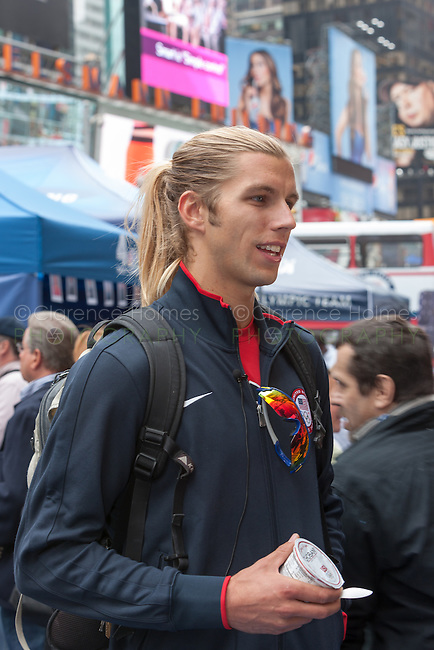 USA Olympic Beach Volleyball team member Stafford Slick participates in the Road to London 100 Days Out Celebration in Times Square in New York City, New York, USA on Wednesday, April 18, 2012.  Times Square was transformed into an Olympic Village for the event.