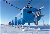 BNPS.co.uk (01202 558833).Pic: HBA/BNPS..***Please use full byline***..It looks like a spaceship from the Star Wars universe which has crash landed on a frozen planet far far away...But this futuristic-looking facility on skis is actually the 25.million pounds future of cutting-edge British research in Antarctica...It is the world's first re-relocatable research centre designed specifically to be moved around to avoid being buried under snow like other stations in the unforgiving region...The Halley VI Antarctic Research Station, designed by British firm Hugh Broughton Architects, officially opened this week and scientists will use it to study Ozone depletion, sea-level rise and climate change and weather.