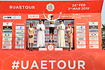 Laurens De Plus (BEL) Team Jumbo-Visma retains the young riders White Jersey at the end of Stage 2 of the 2019 UAE Tour, running 184km form Yas Island Yas Mall to Abu Dhabi Breakwater Big Flag, Abu Dhabi, United Arab Emirates. 25th February 2019.<br /> Picture: LaPresse/Massimo Paolone | Cyclefile<br /> <br /> <br /> All photos usage must carry mandatory copyright credit (© Cyclefile | LaPresse/Massimo Paolone)