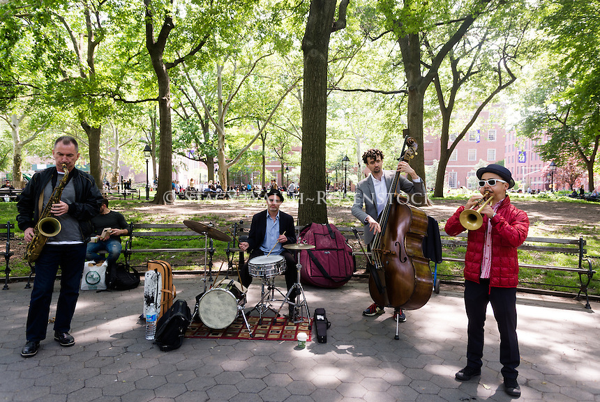 New York, NY 3 June 2015 Jazz band busking in Washington Square Park