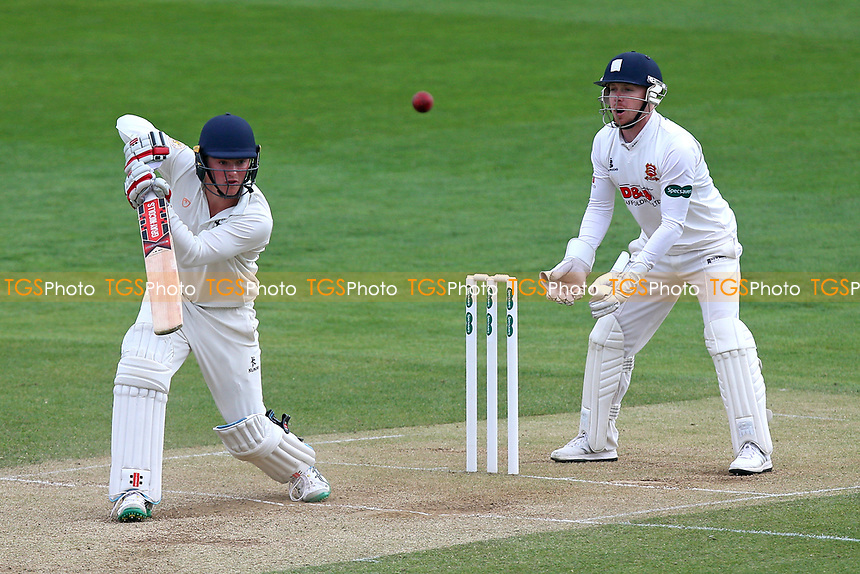 Ed Pollock in batting action for Durham as Adam Wheater looks on from behind the stumps during Essex CCC vs Durham MCCU, English MCC University Match Cricket at The Cloudfm County Ground on 4th April 2017